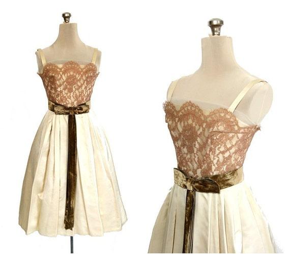 SALE Vintage '50s Lace & Satin Party Dress XS / S