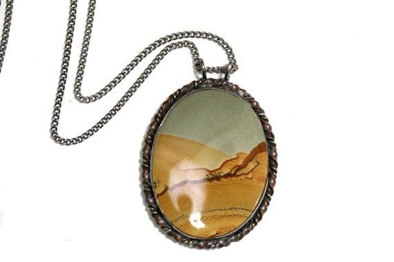 70s Vintage Picture Jasper Pendant Necklace, Sterling Silver & Copper, Large