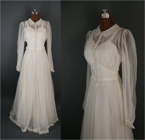 Vintage 1940s Chiffon Wedding Dress, Illusion Neckline Long Sleeves XS / S
