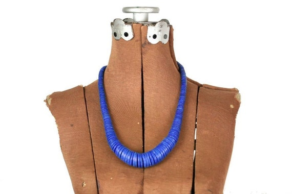 Vintage African Wooden Disk Beaded Necklace, Lapis Blue