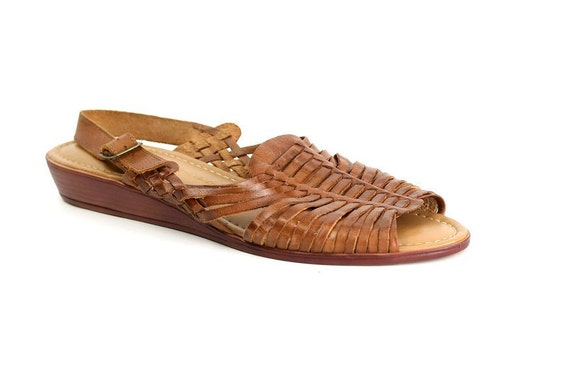 Size 11 1980s Vintage Huarache Sandals, Woven Brown Leather