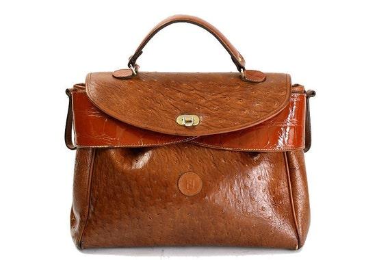 Authentic Vintage Fendi Satchel Bag, Colorblock Ostrich Leather, Brown 1960s