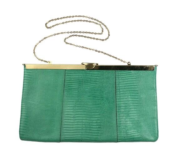 1960s Lizard Leather Clutch Purse / Chain Strap / Turquoise Aqua Blue