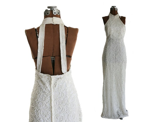 Vintage Beaded Backless Wedding Dress, Halter 1980s White, S / M 6 - 8 - 10