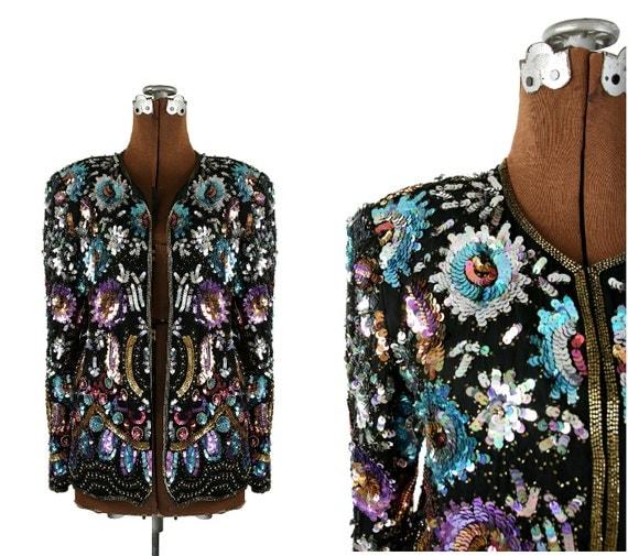 1980s Vintage Sequined Silk Jacket, Black Chiffon S - M