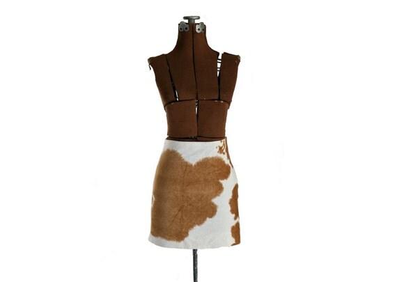 Vintage Ralph Lauren Velvet Miniskirt, Cowhide Print S - M