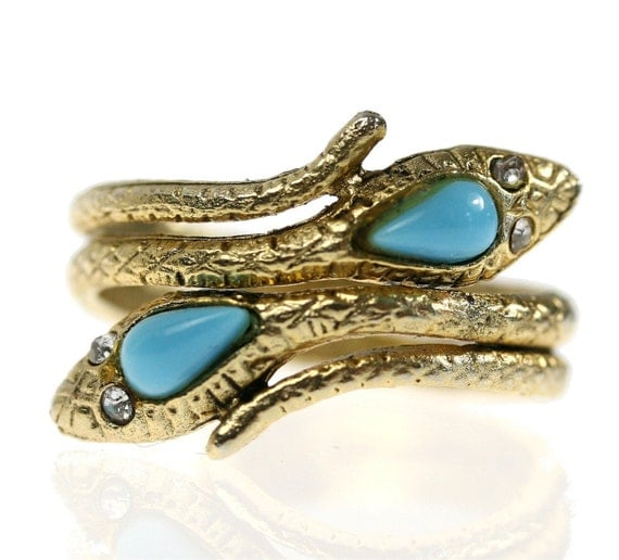 1970s Vintage Gold Snake Wrap Ring with Turquoise / Rhinestones, size 8