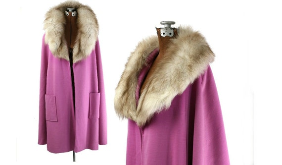 Vintage 1970s Wool Cape with Fur Collar, Pink XS / S/ M / L / Xl