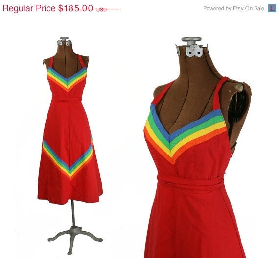 1970s Vintage Cotton Wrap Dress, Red with Rainbow Chevrons, Cotton XS - S