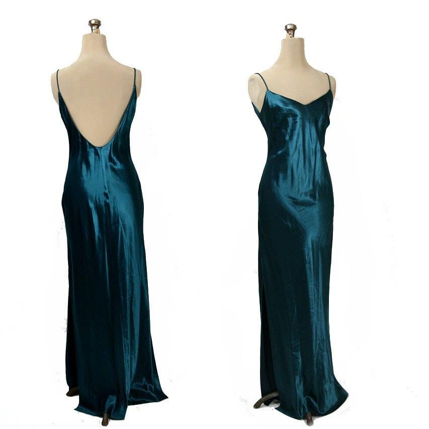 70s 80s Vintage Long Satin Slip Dress Teal S M