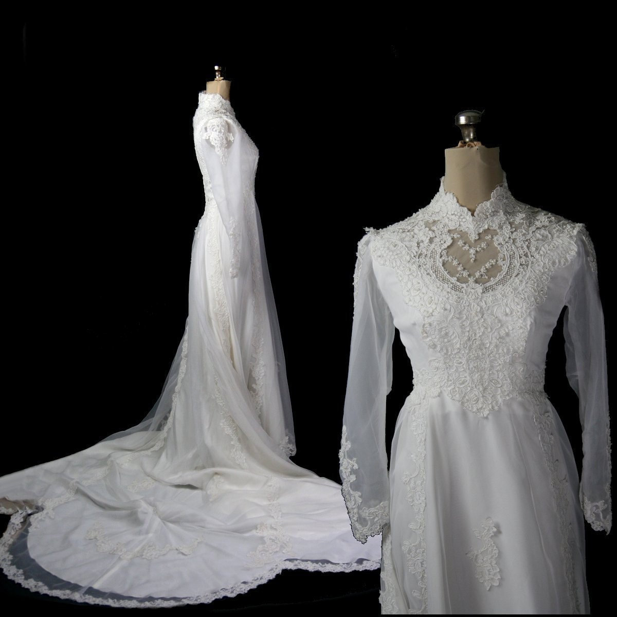 Reserved vintage 1970s wedding dress chiffon lace s m for 1970s vintage wedding dresses