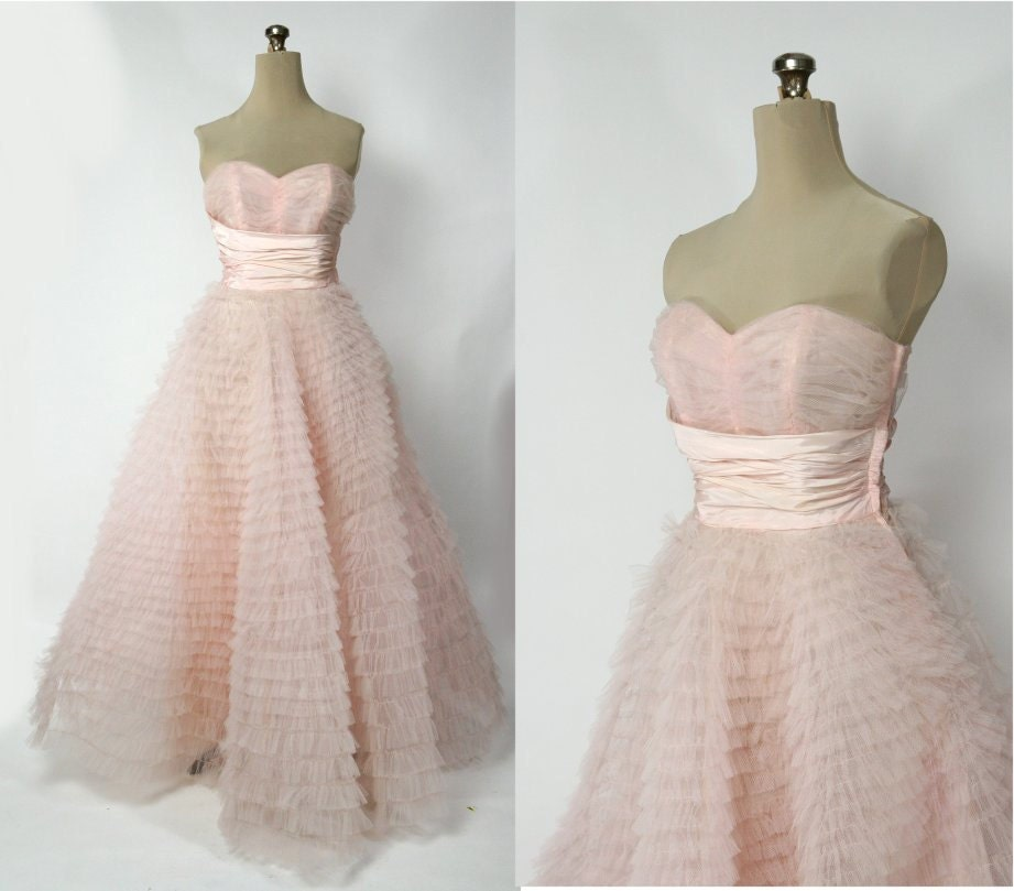 Vintage Wedding Dress Xs: Vintage 50s Pink Wedding Dress Tiered Tulle XS / S