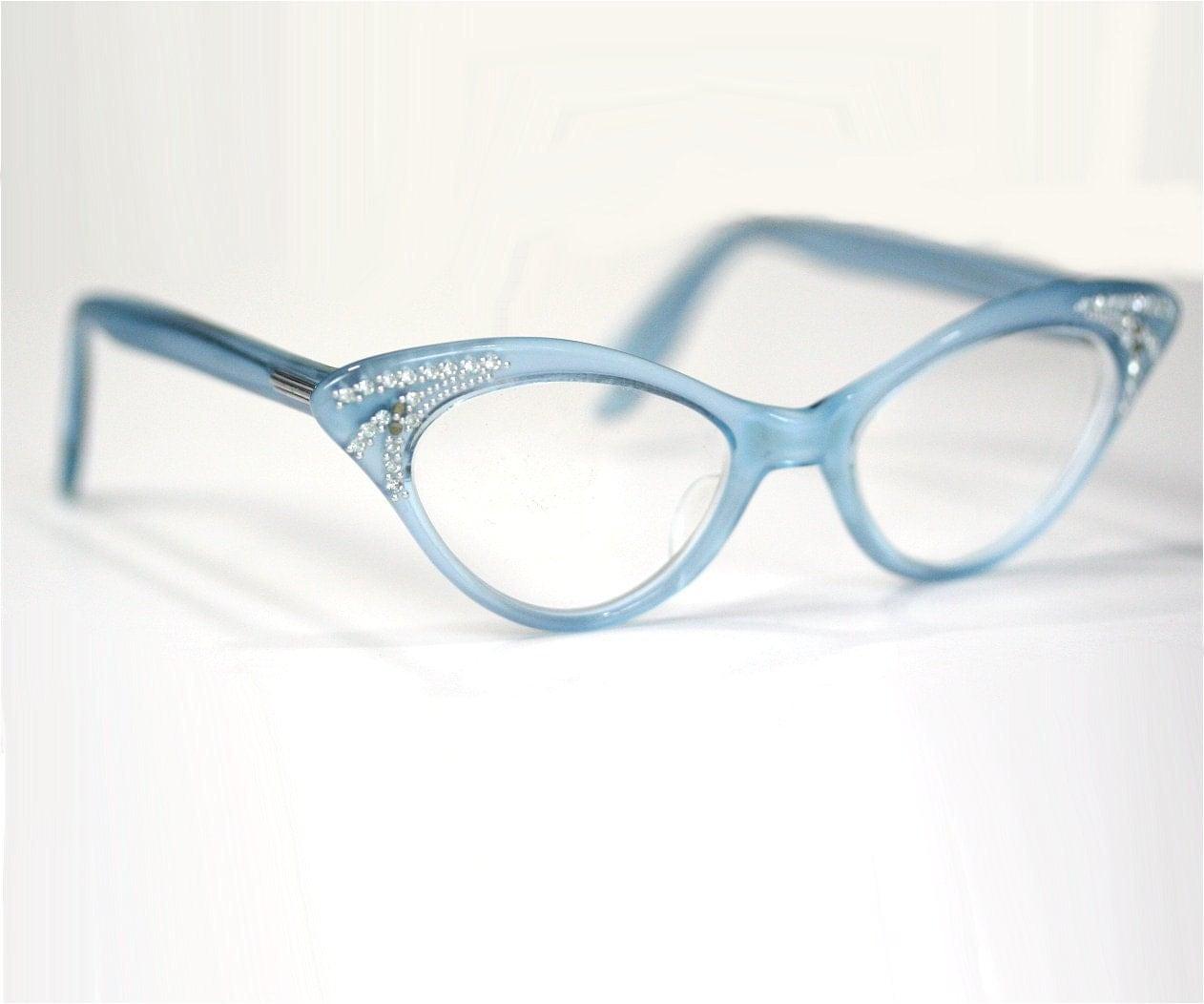 Vintage 50s / 60s Blue Cat Eye Glasses Frames With Rhinestones