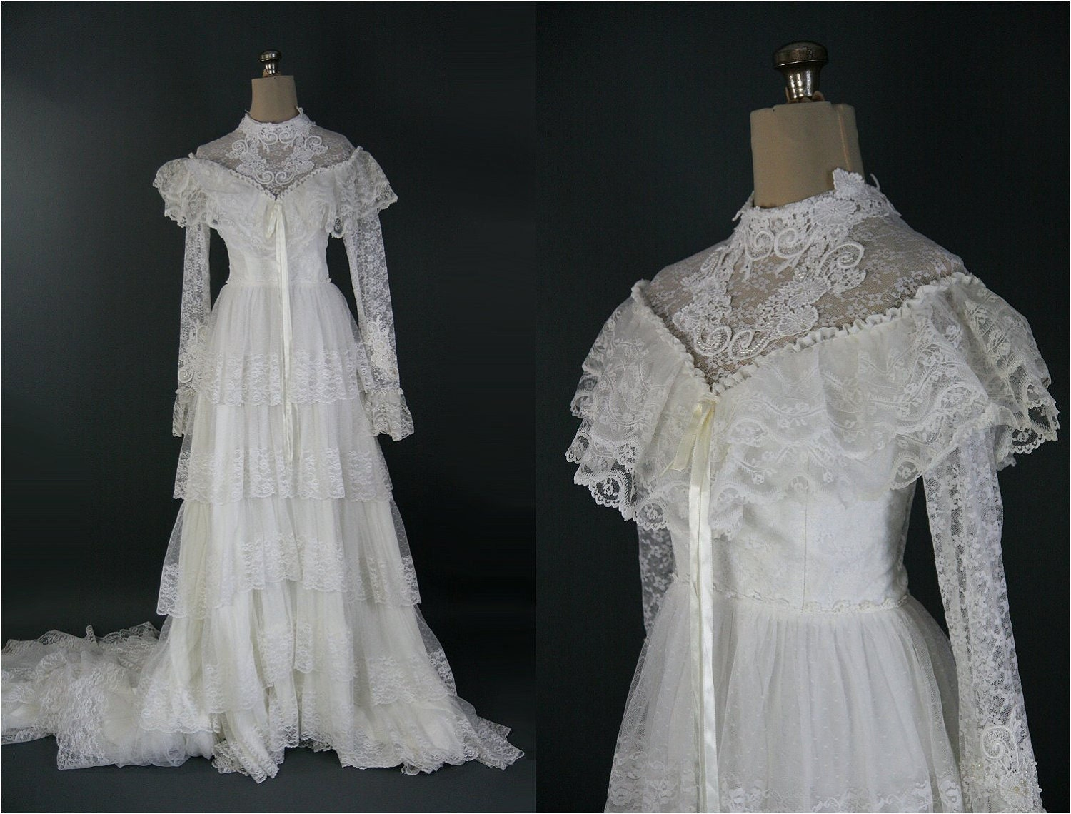 1970s Vintage Tiered Lace Wedding Dress Long Sleeves S M