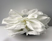White Wedding Hair Flower: Off white & cream taffeta fabric hair flower with sparkling silver and rhinestone centre hair clip