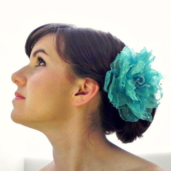 Hair Flower Fascinator: Turquoise blue large organza flower with clear beaded stamen and silver rhinestone droplets bridal hair clip