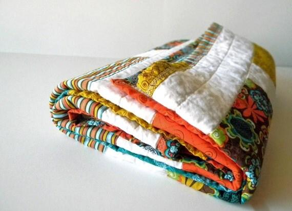 Original Handmade Baby Quilt Turquoise and Orange Modern