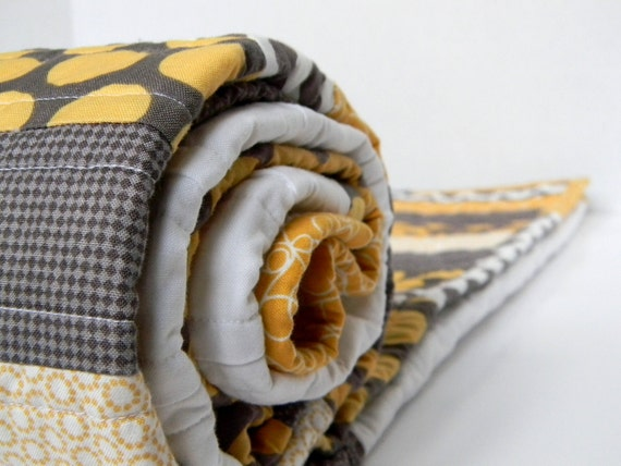 Modern Baby Quilt Grey and Yellow