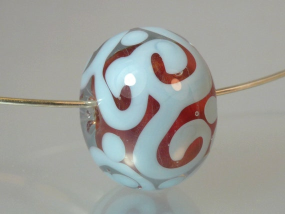 Handmade Lampwork Focal Glass Bead with Red Glass Core Encased in Clear and Blue Scrollwork - SRA Made in Hawaii Free Shipping
