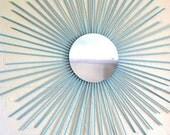 Sunburst Wall Mirror Art Contemporary Modern Decor Wooden Tiffany Blue Turquoise  LARGE