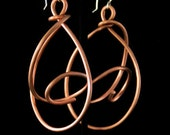Astronomical copper EARRINGS hoop dangle one of a kind handcrafted