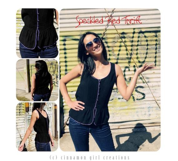 80's Black and Purple Sleeveless Flirty Top Nipon Boutique Size Small