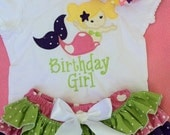 Custom Embroidered Mermaid onesie, ruffle bloomers and OTT Bow
