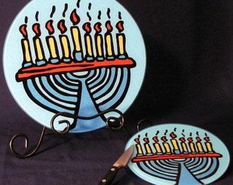 Menorah - Judaica - Hanukkah Tempered Glass Cutting Board - 2 Sizes Available