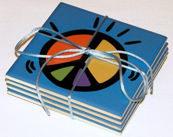Peace Ceramic Coasters - 50% Off Ceramic Coaster Sale