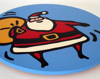 "Santa - Christmas 16""  Lazy Susan. Hand-painted on white birch."