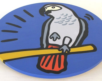 """African Grey Parrot 16"""" Wooden Lazy Susan. Hand-painted on white birch."""