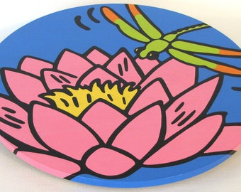 """Waterlily and Dragonfly 16""""  Wooden Lazy Susan. Hand-painted on white birch."""