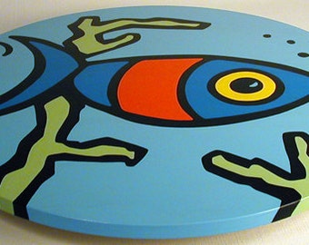 """Fish 16""""  Wooden Lazy Susan. Hand-painted on white birch."""