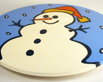 """Snowman - Christmas 16""""  Wooden Lazy Susan. Hand-painted on white birch."""