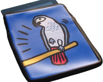African Grey Parrot iPad 1, 2 and 3 Neoprene Zippered Case - 50% Off iPad Case Sale