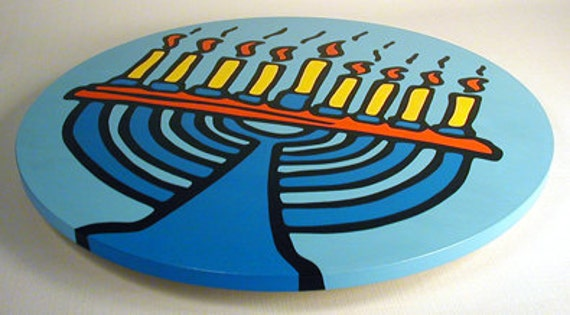 "Menorah - Judaica - Hanukkah 16""  Wooden Lazy Susan. Hand-painted on white birch."
