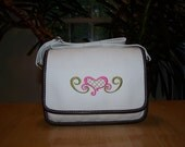 Embroidered Land's End Twill Ketch Purse Heart design