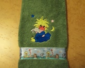 Bathroom Hand Towel with Suzie Zoo Embroidery and Ribbon