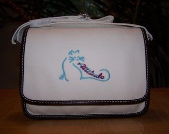 Cat Embroidered Land's End Twill Ketch Purse