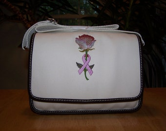Embroidered Land's End Twill Ketch Purse Cancer Ribbon Rose