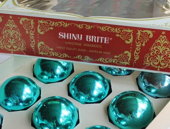 12 Vintage Aqua and Blue Christmas Balls - Midcentury