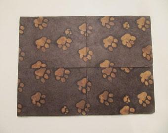 Paw Print Folder, Handmade Paper, Batik Technique, Nepal