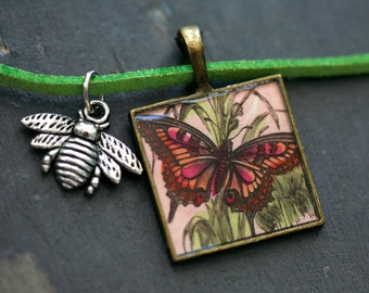 Butterfly and Bee Necklace
