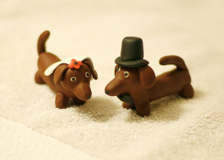 Daschund Weiner Dog Wedding Cake Topper