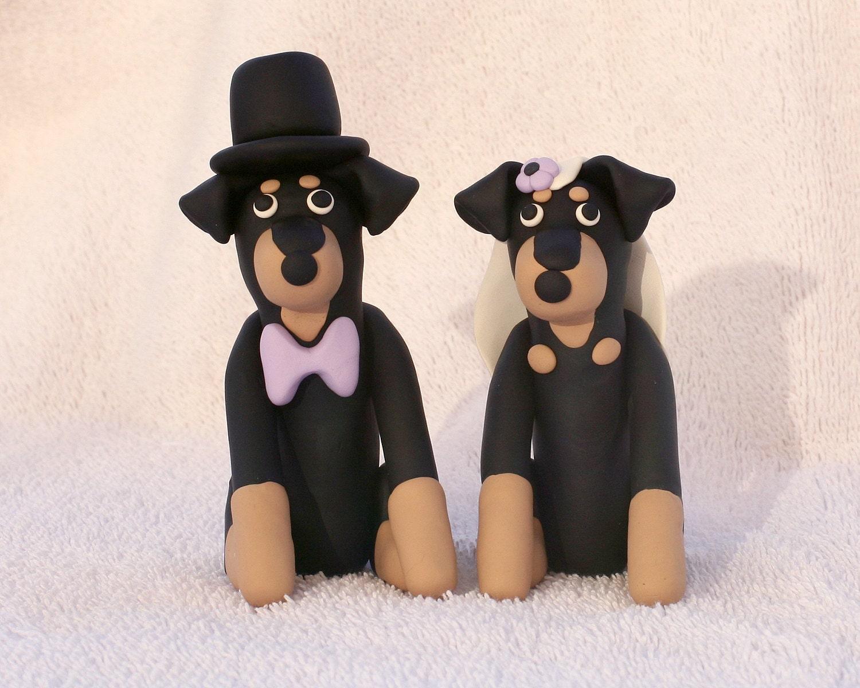 Rottweiler Rotti Dog Wedding Cake Topper