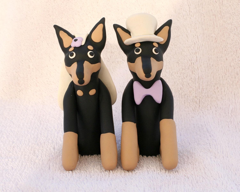Doberman Pinscher Dog Wedding Cake Topper