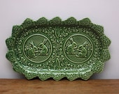 RESERVED for Samantha - Quirky Vintage Green Plate - High Glaze - Rabbits