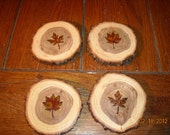 Wood Coasters with Individual Leaves in Earth Tones - From Tree Slices -Set of 4
