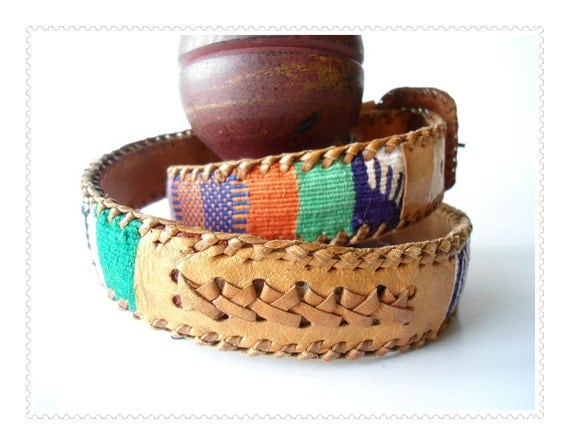 Vintage Indian Tribal Leather  Belt - Size 30  -  Fabric Weaves Lacing - Color Blocking with a Twist
