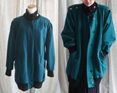 Emerald Green Over-sized Vintage Wool Winter Coat